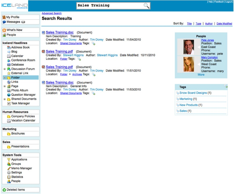 Dated intranet software