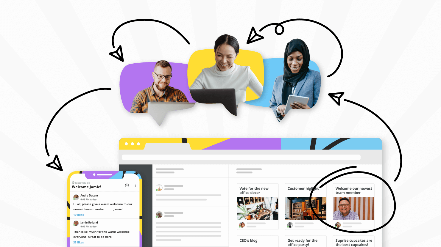 Four employee platform examples from Jostle customers
